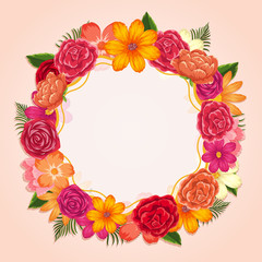 Ring of colorful flowers on white background