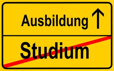 Sign, city limit, symbolic image for the transition from Studium or academic studies to Lehre or vocational training