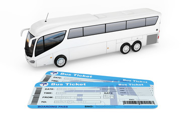 Big White Coach Tour Bus with Bus Tickets. 3d Rendering