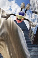 Cartoon character, basejumper in front of a Frankfurt banking house, free fall