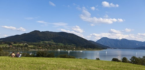 View of lake Tegernsee, Gmund, Upper Bavaria, Bavaria, Germany, Europe, PublicGround, Europe