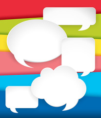 Different speech bubbles on rainbow background