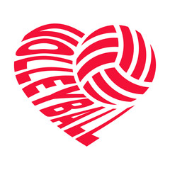 Ball and inscription «VOLLEYBALL» in the shape of a heart. Vector illustration isolated on white background for sports design.