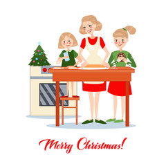 Mother Bakes Traditional Christmas Cookies with Daughters. Happy Family Winter Holidays. Vector illustration