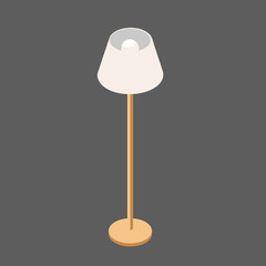 Vector Lamp in Isometric View. Light lamp on a High Leg. Floor Lamp White in isolation From the Background