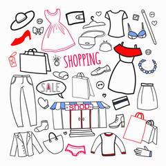 Shopping Hand Drawn Set. Seasonal Sale Woman Fashion Elements Clothing and Accessories. Vector illustration