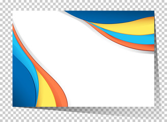 Businesscard template with blue and yellow waves