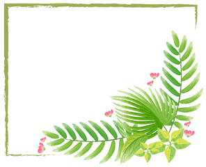 Border template with watercolor painting of leaves