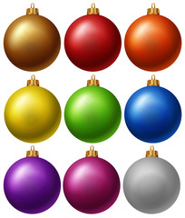 Christmas balls in nine colors