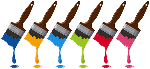 Six colors on paintbrushes