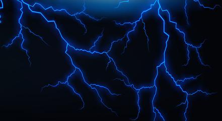 Dark sky with blue lightenings