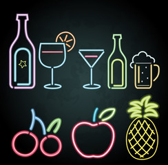 Neon light design for fruits and drinks