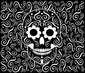 Skull icon ornament vector, black and white
