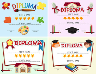 Four diploma template with school items in background