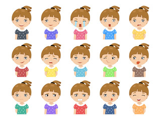 Set of Cartoon cute caucasian girl face emotions Vector Icons