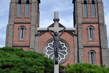 The cross at Daegu Cathedral. Pic was taken in August 2017.