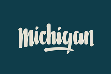 Michigan City USA State Word Logo Name Hand Painted Brush Lettering Calligraphy Logo Template