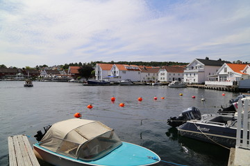 A calm summers day in Marina Kristiansand Lillesand, Norway