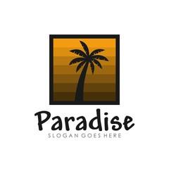 Tropical island logo design template