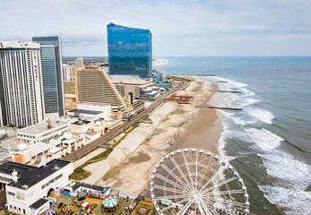 ATLANTIC CITY, USA - SEPTEMBER 20, 2017: Atlantic city waterline aerial view