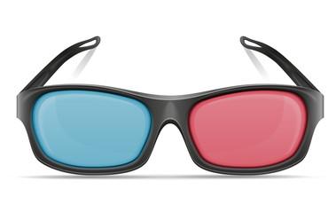 3d plastic glasses stock vector illustration