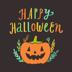 Happy Halloween greeting card. Vector hand drawn cute illustration. Holiday decoration