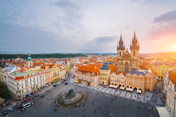 The beautiful landscape of the old town, Prague Castle and Hradcany in Prague, Top view at Czech Republic.
