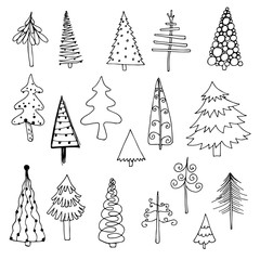 set of hand-drawn fir-trees and pines