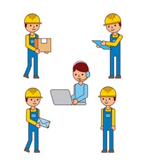 set of logistic worker people delivery postmail laptop vector illustration