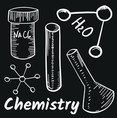 School subjects, chemistry hand drawn vector illustration with doodle icons, chemistry  images and objects, isolated on blackboard.