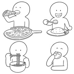 vector set of man eating