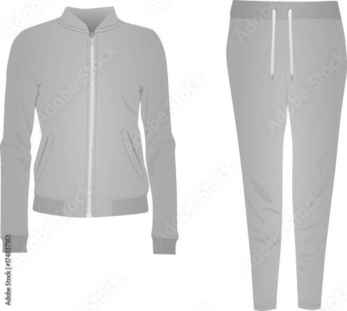 7f6295023764 Grey women tracksuit. vector illustration