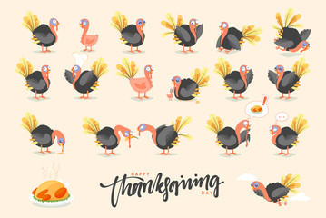 Collection cartoon Turkey bird. Happy Thanksgiving Celebration. Funny character turkey