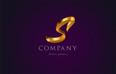 s gold golden alphabet letter logo icon design
