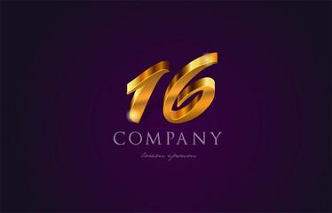 16 sixteen gold golden number numeral digit logo icon design
