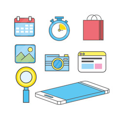 set smartphone technology media icon