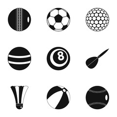 Sport equipment icons set, simple style