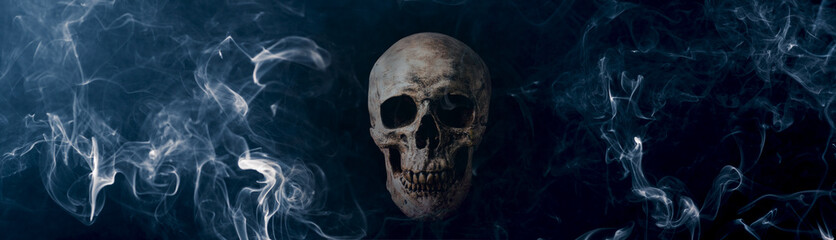 human skull with white smoke in blue mood against dark background