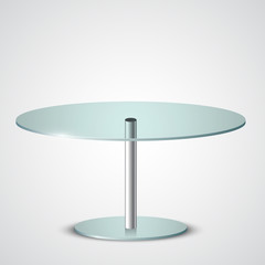 Realistic round glass table, vector illustration