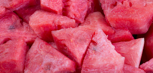 Pile of piece of  sweet watermelons red color