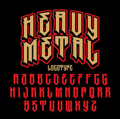Heavy metal alphabet. Brutal font. Typography for labels, headlines, posters etc.