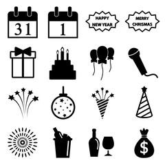 happy new year icon set