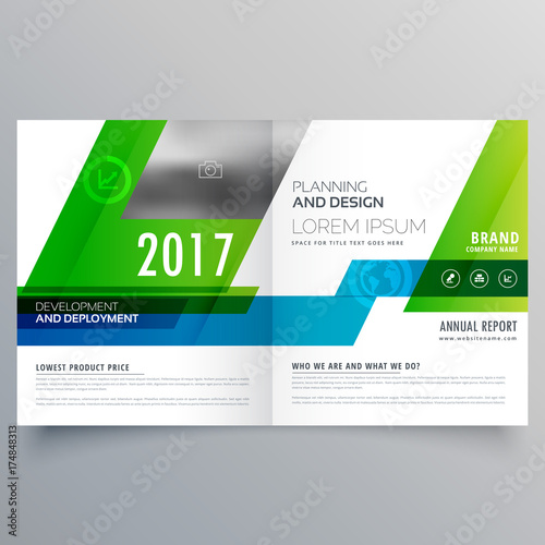green bi fold brochure template design for your business stock
