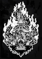 Burning Church flash tattoo dot work art.