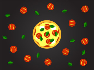 Pizza Margherita Top View Flat Style