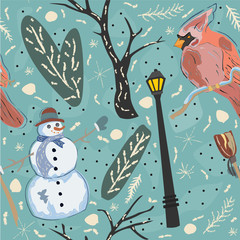Seamless Winter Pattern With Cute Snowman and Cardinal Bird. Colorful Design.