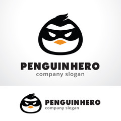 Penguin Hero Logo Template Design Vector, Emblem, Design Concept, Creative Symbol, Icon