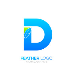 Letter D with Feather logo, Fountain pen, Law, Legal, Lawyer, Copywriter, Writer logotype for your Corporate identity