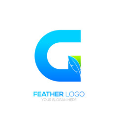 Letter G with Feather logo, Fountain pen, Law, Legal, Lawyer, Copywriter, Writer logotype for your Corporate identity