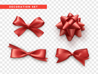 Bows red realistic design. Isolated gift bows with ribbons.